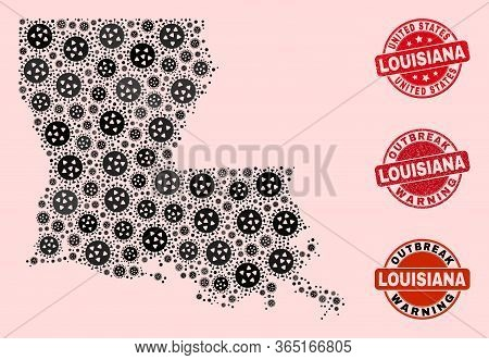 Outbreak Combination Of Covid-2019 Mosaic Louisiana State Map And Unclean Seal Stamps. Vector Red Se