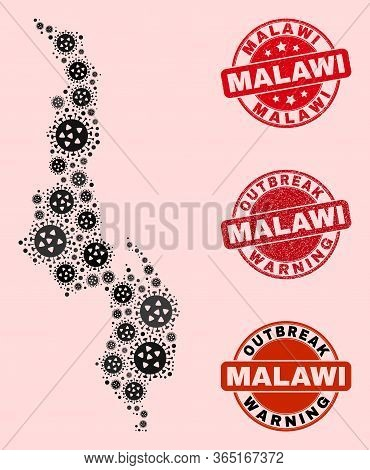 Outbreak Combination Of Virus Mosaic Malawi Map And Rubber Stamps. Vector Red Seals With Distress Ru