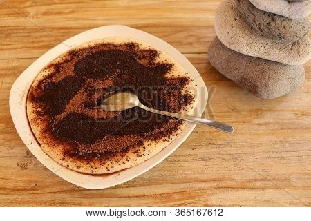 Sweet Semolina Cream With Cocoa Powder And Melted Butter.