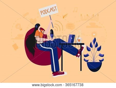 Radio Host With Table Flat Vector Illustration. Podcast Concept. Media Hosting. Woman In Headphones