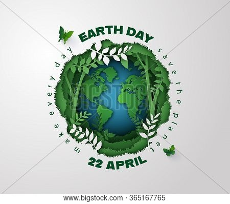 World Environment And Earth Day Concept, Paper Cut 3d .