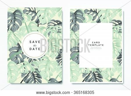 Greenery Wedding Invitation Card Template Design, Green And Black Split-leaf Philodendron Plant With
