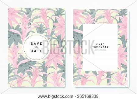 Greenery Wedding Invitation Card Template Design, Pink And Black Bromeliaceae With Circle And Rectan