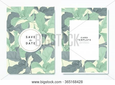 Greenery Wedding Invitation Card Template Design, Green And Black Fiddle Leaf Fig With Circle And Re
