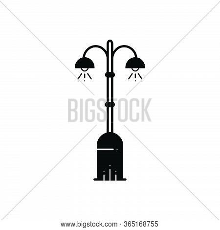 Black Solid Icon For Street Light Lantern Lamppost Streetlamp