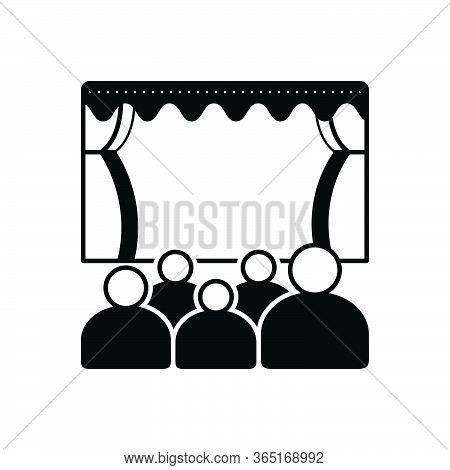 Black Solid Icon For Theater Cinema Audience Spectator Stage Theatre-audience
