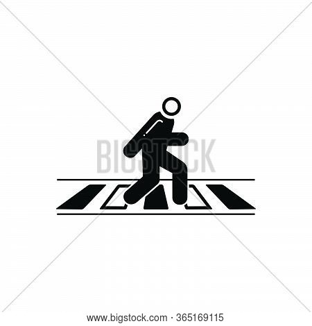 Black Solid Icon For Zebra Crossing  Road  Pedestrian Walkway Safety