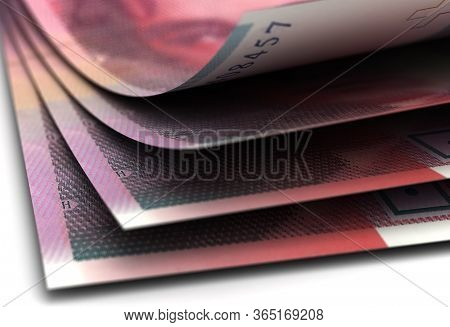 Curved Swiss Franc Currency Closeup 3d Rendering