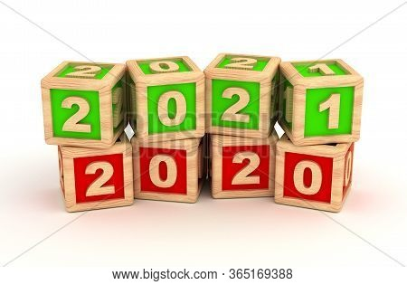 New Year 2021 And Old 2020 (isolated On White Background) 3d Rendering