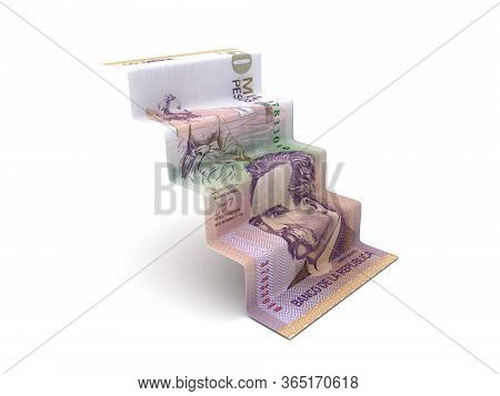 Higher Steps With Colombian Pesos (isolated On White Background) 3d Rendering