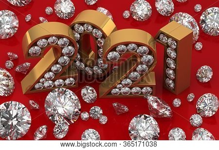New Year Date With Diamonds 2021 3d Rendering