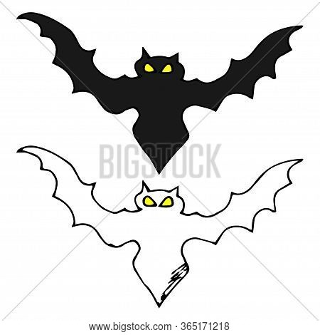 Bat Silhouette. Printable Template. Bat Icon Isolated On White. Hand-drawn Vector Illustration. Flat