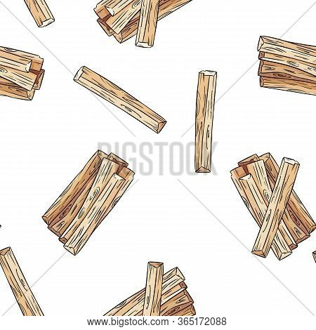 Sticks Hand-drawn Boho Seamless Pattern. Palo Santo Herb Bundle Background Tile
