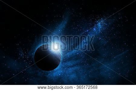 Abstract Space Illustration, 3d Image, Planet And Space Blue Nebula, Background Image, 3d Illustrati