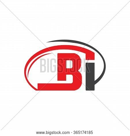 Initial Letter Logo Bi Inside Circle Shape, Rounded Lowercase Logo On White Background