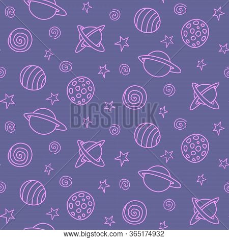 Baby Space Seamless Pattern. Cartoon Blue Pink Purple Outline Planets And Stars. Vector Cosmic Backg