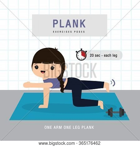 Plank Workout. Woman Doing Planking Exercise And Yoga Training At Gym Home, Stay At Home Concept. Ch