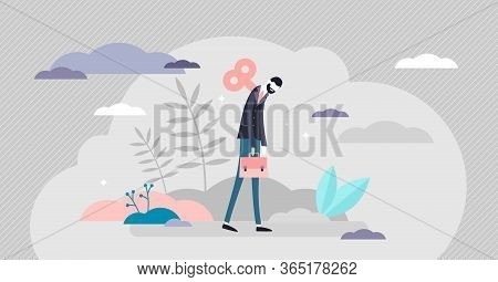 Burnout Concept, Tiny Business Person Vector Illustration. Exhausted Low Energy Businessman Losing W