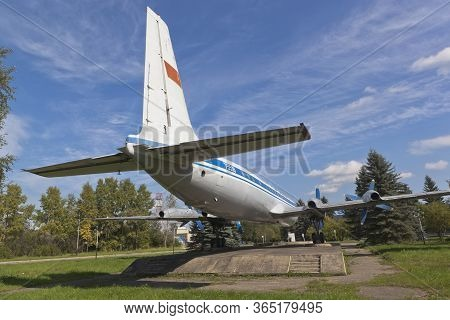 Vologda, Russia - August 20, 2019: Rear View Of The Passenger Plane Il-18 At The Vologda Airport