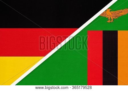 Federal Republic Of Germany Vs Zambia, Symbol Of Two National Flags From Textile. Relationship, Part
