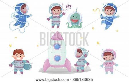 Little Astronaut Wearing Spacesuit Exploring The Moon Vector Illustration