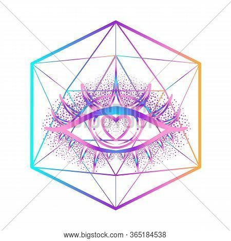 Rainbow Gradient Tattoo Flash. Eye Of Providence. Masonic Symbol. All Seeing Eye With Heart Inside.