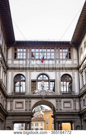 Florence, Italy - April 1, 2018: Inner Courtyard Of The Famous Galleria Degli Uffizi. Historical Bui