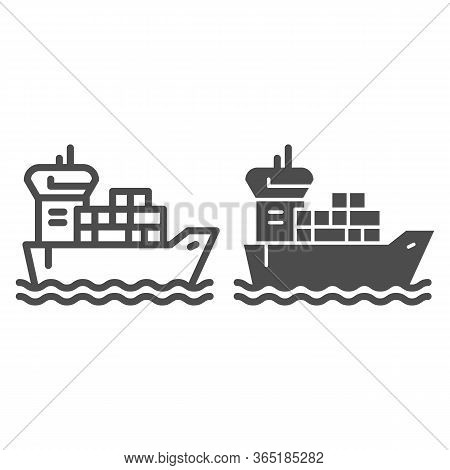 Shipping Vessel With Containers Line And Solid Icon, Delivery And Logistics Symbol, Cargo Ship Vecto