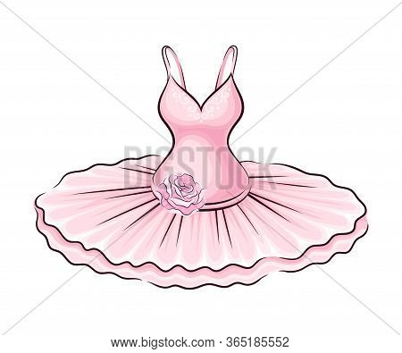 Pink Dress With Tutu Skirt And Rose Adornment Vector Illustration