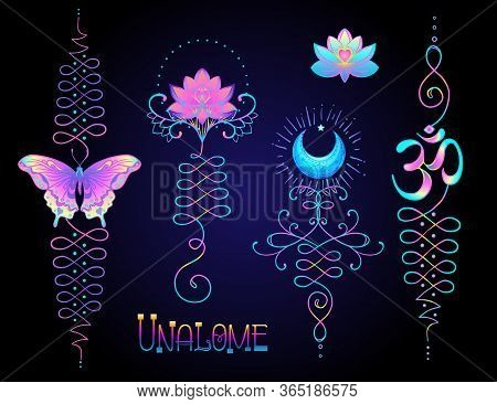 Lotus And Sacred Geometry. Unamole Hindu Symbol Of Wisdom And Path To Perfection. Set Of Tattoo Fles