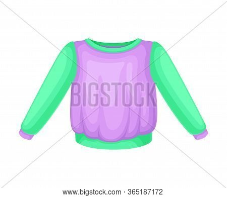Sweater Or Pullover With Long Sleeves As Clothes For Boys Vector Illustration