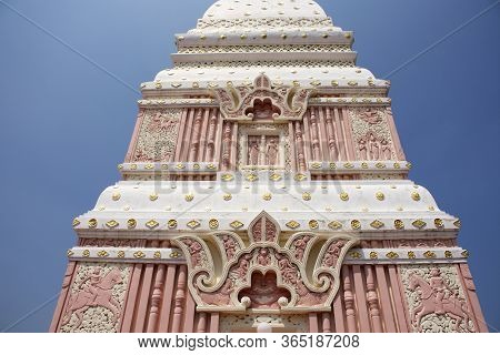 Pink And White Color Pagoda Or Stupa Of Wat Phra That Renu Nakhon Temple For Foreign Traveler And Th