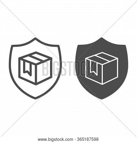 Box With Security Shield Line And Solid Icon, Delivery And Logistics Symbol, Guaranteed Parcel Deliv