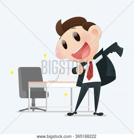 Illustration Confident Young Businessman Posing On A Light Gray Background, Man Who Is Promoted To M
