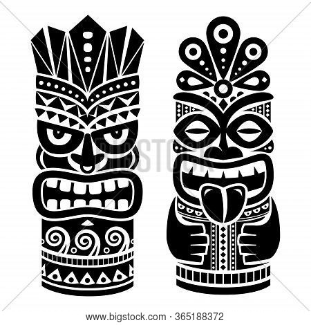 Tiki Pole Totem Vector Design - Traditional Statue Decor Set From Polynesia And Hawaii, Tribal Folk
