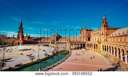 Seville, Spain - 10 February 2020 :plaza De Espana Spain Square Architecture Top View In Beautiful S