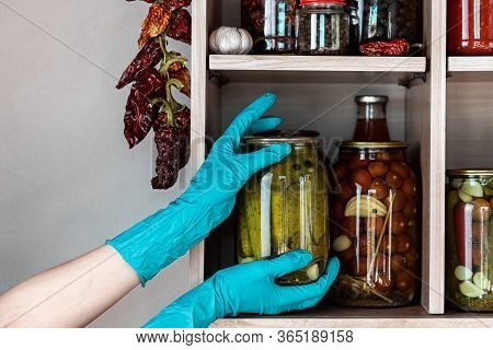 Homemade Vegetables In Jars On Wooden Shelves In The Home Pantry. Marinate Food, As Stocks From The
