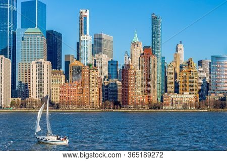 New York, Usa - March 9, 2020: View Of The Skyscrapers In Manhattan From The Hudson River In The Aft