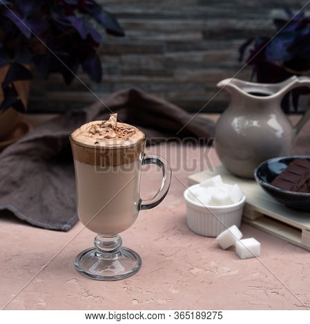 A Drink Of Self-isolation Is Dalgona Coffee. A Delicious Cold Beverage Sprinkled With Chocolate Chip