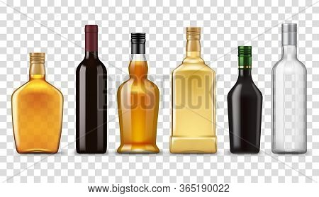 Alcohol Realistic Drink Bottles, Vector Isolated 3d Mockup Objects. Premium Quality Alcohol Drink Bo