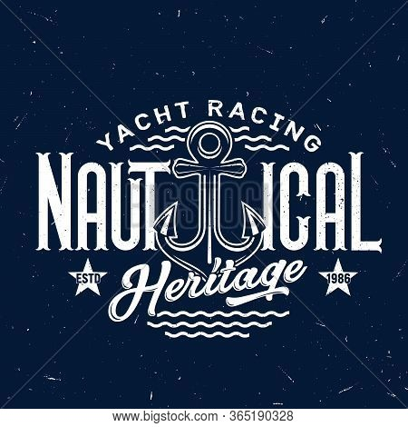 Yachting Club, Sail Ship Anchor Vector T-shirt Print Mockup On Navy Blue Background. Yacht Racing Or