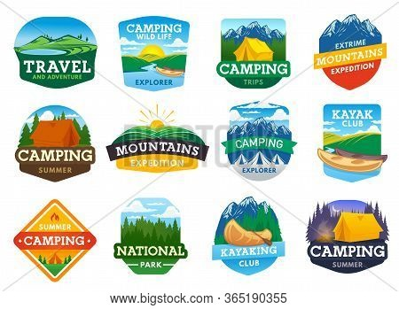 Camping, Hiking And Travel Summer Outdoor Adventure, Vector Camp Icons. Mountaineering And Mountain