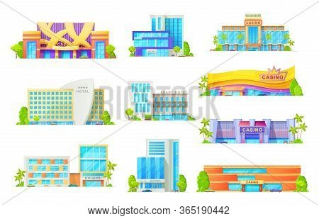 Hotel And Casino Buildings, Vector Flat Icons. Entertainment And Commercial Buildings Facades With I