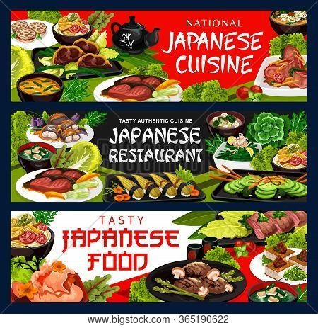 Japanese Cuisine Restaurant Menu, Traditional Japan Meal Dishes. Japanese Tofu Soup And Wakame Udon