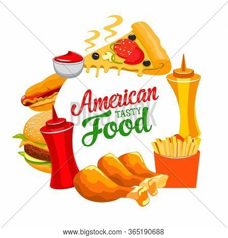American Fastfood Takeaway And Delivery Cheeseburger And Hamburger, Chicken Legs With Ketchup And Mu
