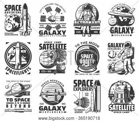 Galaxy Exploration And Outer Space Adventure Vector Icons. Astronaut Academy And Satellite Space Cam