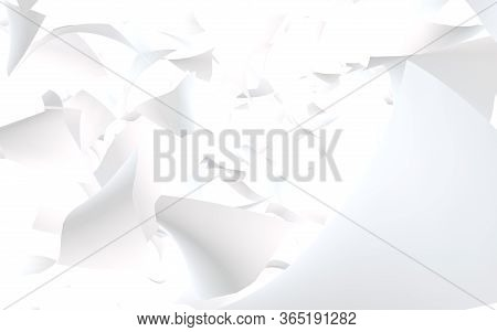 Flying Sheets Of Paper Isolated On White Background. Abstract Money Is Flying In The Air. 3d Illustr