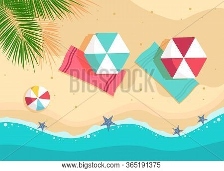 Summer vector beach with waves, umbrellas, bright towels background. Tropical summer background and summer backdrop. Summer Promo badge for seasonal offer, summer promotion, advertising. Vector summer set background.