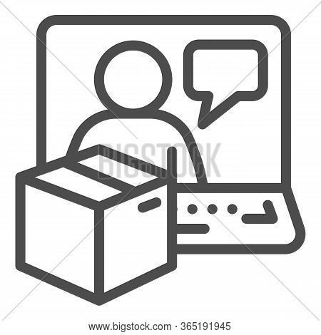 Laptop With Cardboard Box And Person Line Icon, Logistic And Delivery Symbol, Internet Delivery Vect