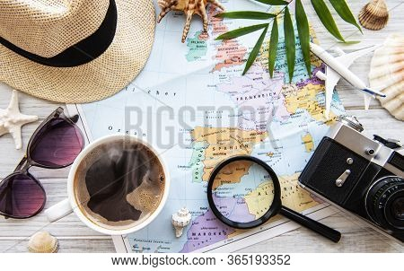 Overhead View Of Traveler's Accessories. Essential Vacation Items. Travel Concept Background. Flat L